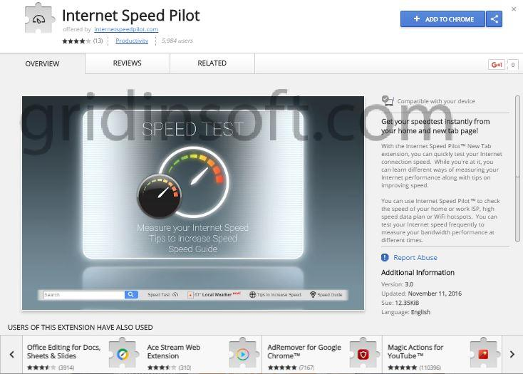 remove Internet Speed Pilot