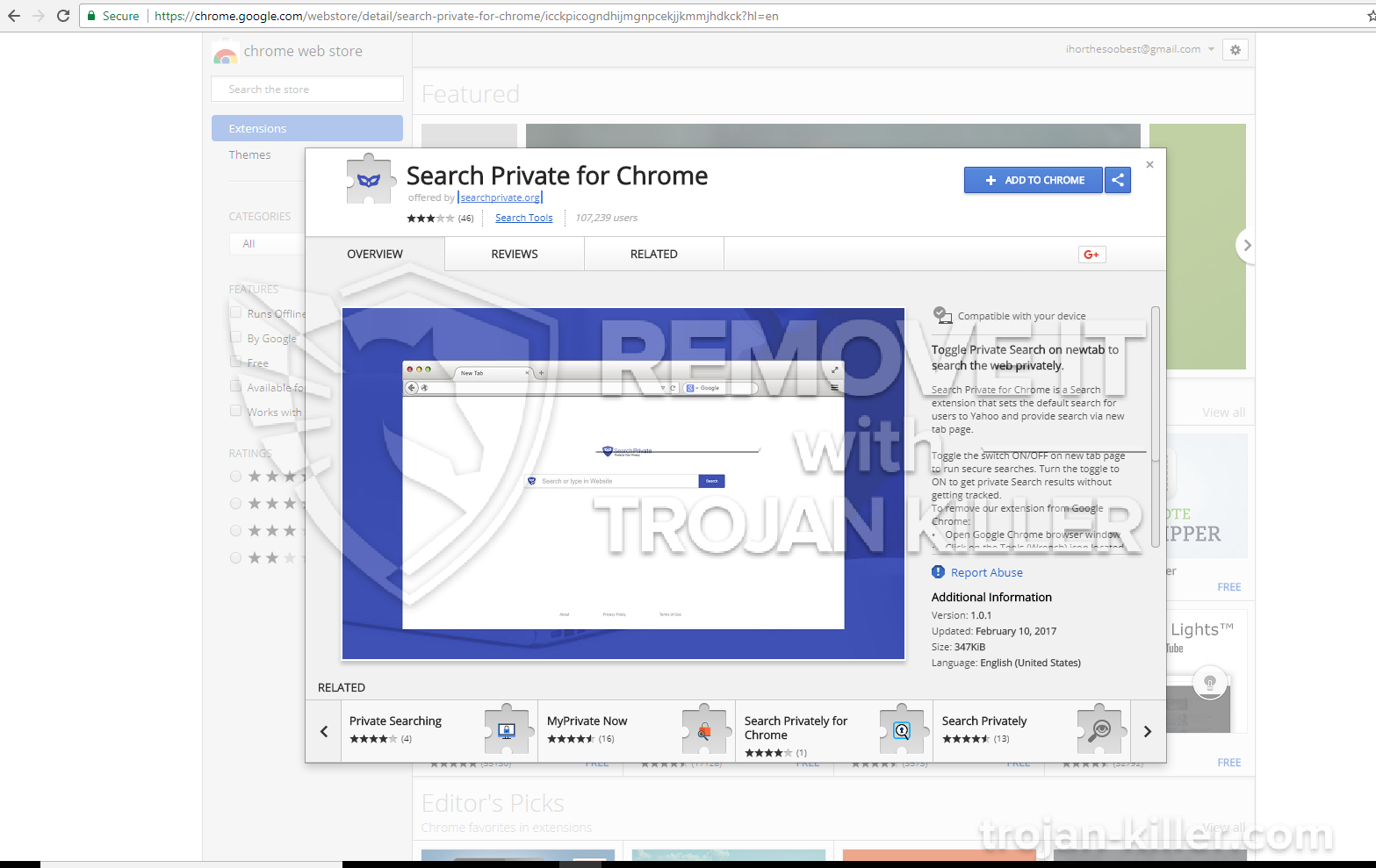 remove Search Private for Chrome