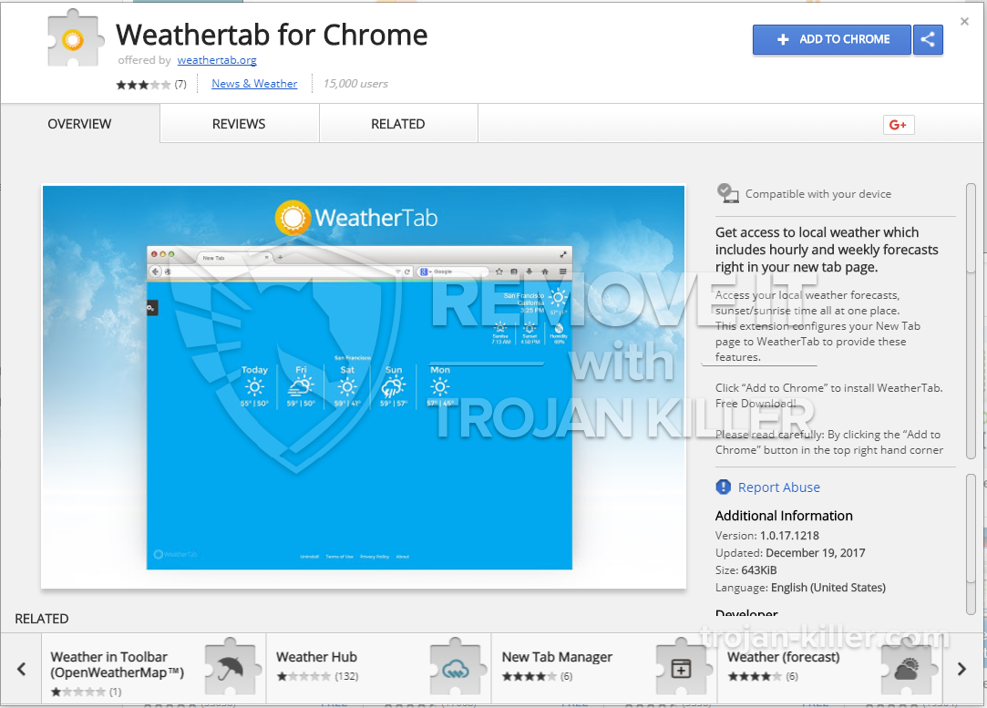 remove Weathertab for Chrome