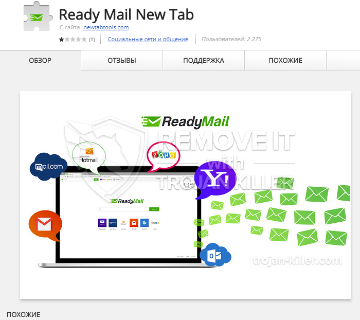 remove Ready Mail New Tab