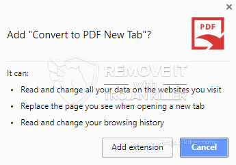 remove Convert to PDF New Tab