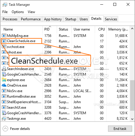 remove CleanSchedule.exe