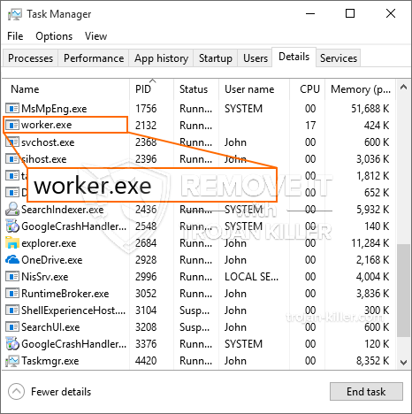 remove worker.exe