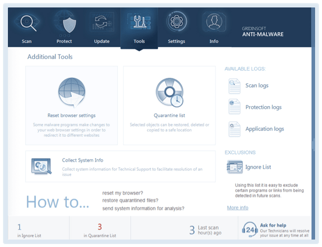 Screenshots Anti-Malware Gridinsoft